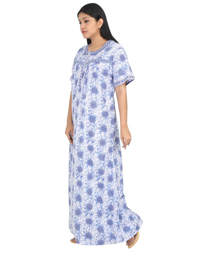 Womens Full Length Cotton Nightie - Front zip - Regular Fit - Nighty House