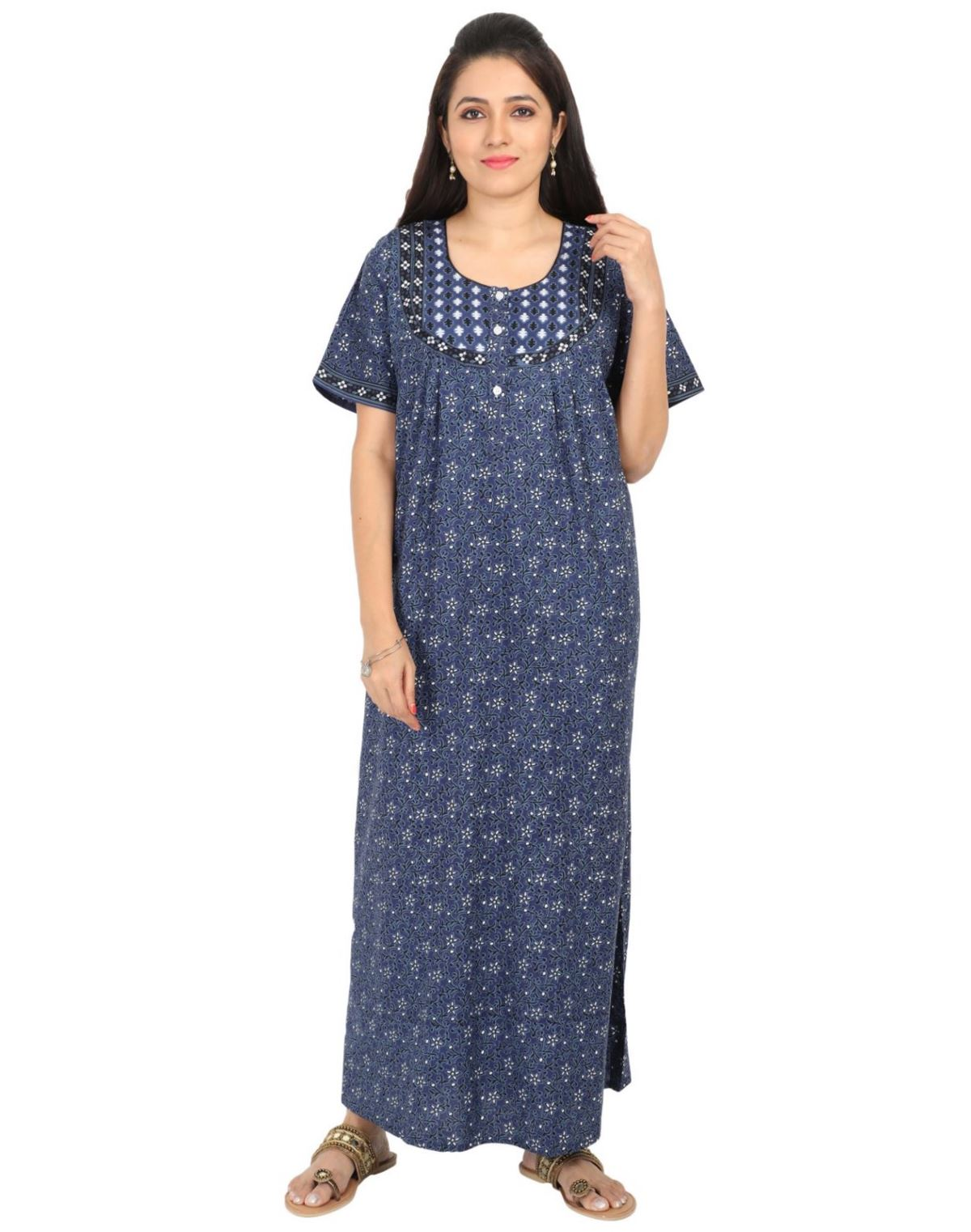 Womens Jaipuri Cotton Nightgown - Front Button - Regular Fit - Nighty House