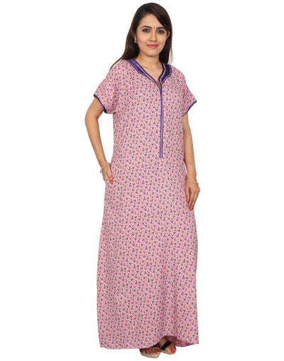 Womens Full Length Alpine Nighty - Front Zip - Nighty House