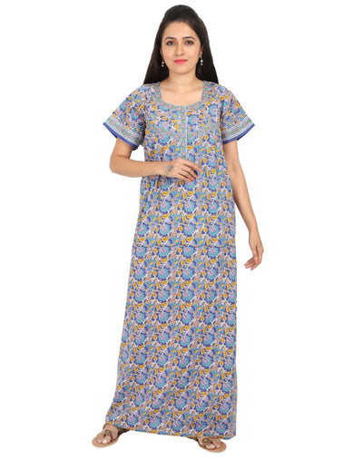 Womens Jaipuri Cotton Nightgown - Regular Fit - Front Zip - Nighty House