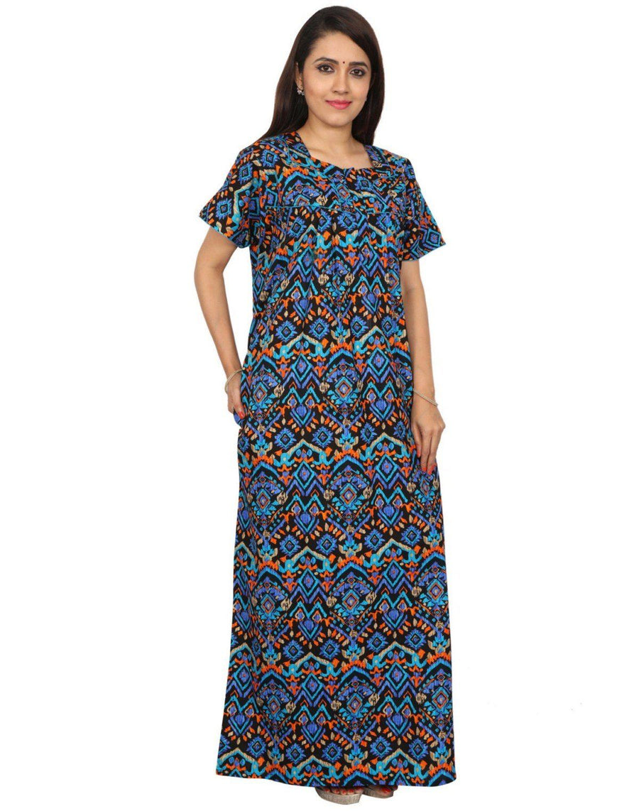 Womens Full Length Cotton Nighty - Front zip