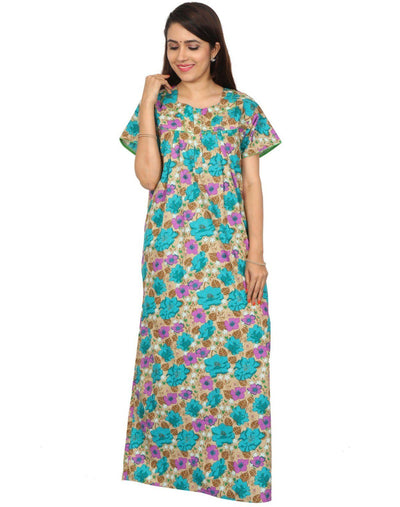 Womens Full Length Cotton Nighty - Front zip - Nighty House