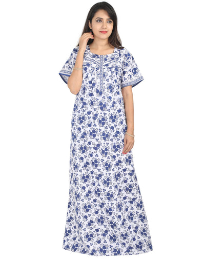 Womens Full Length Jaipuri Cotton Nightgown - Front zip - Regular Fit Womens Nighty NH -Sale 1149