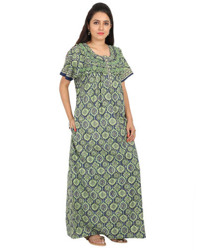 Womens 100% Cotton Feeding Nightgown - Side Zip - Nighty House
