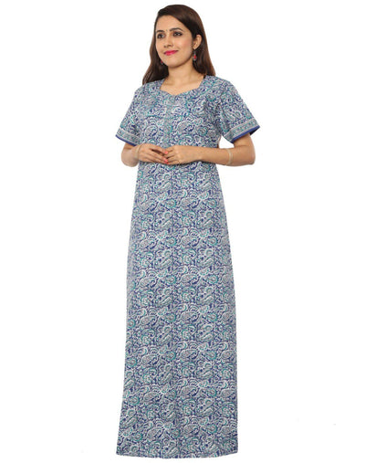 NH Womens Cotton 60 Inches Extra Length Nighty - Front Zip - Nighty House