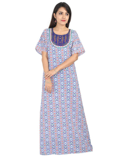 Womens Jaipuri Cotton Nightie - No Zip - Slim Fit Womens Nighty NK - Kiwi