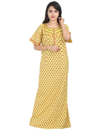 Womens Neck Embroidered Cotton Maxi - Front Button - Regular Fit - Nighty House