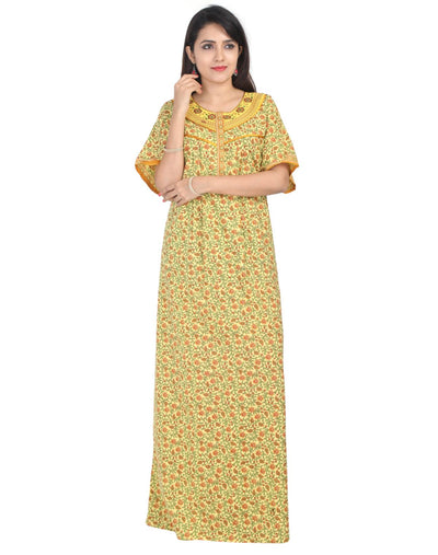 Womens Neck Embroidered Cotton Maxi - Front Zip - Regular Fit - Nighty House
