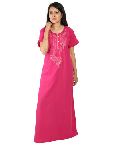 Womens Nightgown - Front Button - Slim Fit - Nighty House