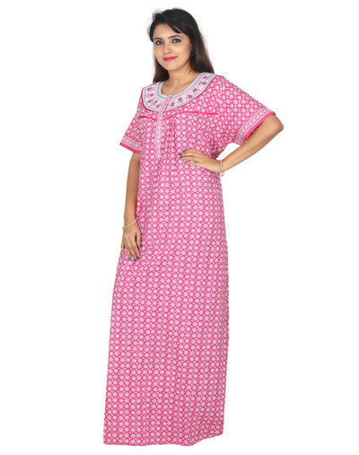Womens Long Jaipuri Cotton Nightie - Front Button - Regular Fit - Nighty House