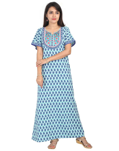 Womens Jaipuri Cotton Nightie - No Zip - Slim Fit Womens Nighty NH -Sale 1449