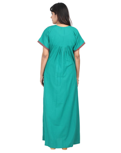 Womens Full Length Nightgown - Front Button - Regular Fit - Nighty House