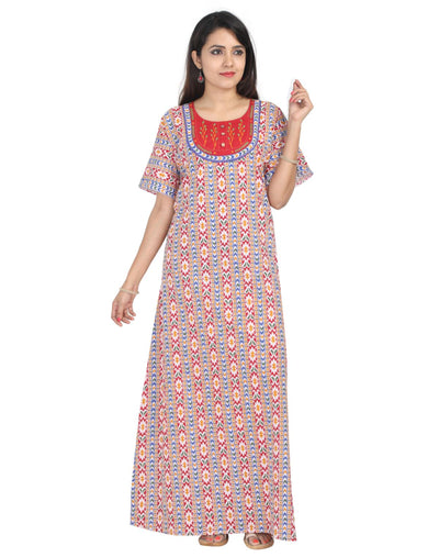 Womens Jaipuri Cotton Nightie - No Zip - Slim Fit - Nighty House