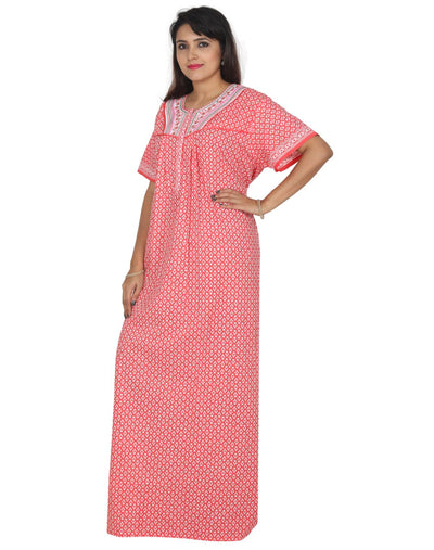 Womens Long Jaipuri Cotton Nightie - Front zip - Regular Fit - Nighty House
