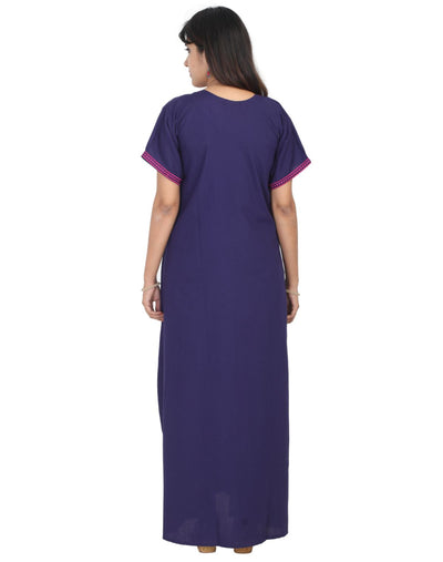 Womens Long Nightgown - Front Button - Slim Fit - Nighty House
