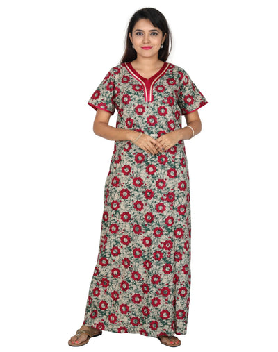 Womens Long Premium Cotton Nightie - No zip - Slim Fit - Nighty House
