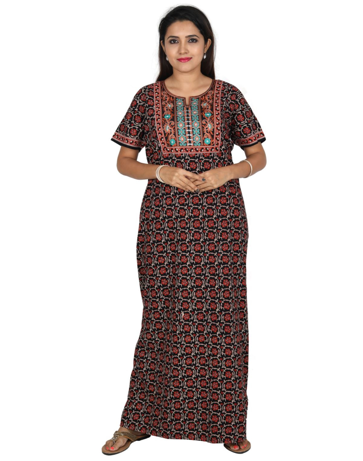 Womens Long Jaipuri Cotton Nightie - No zip - Slim Fit - Nighty House