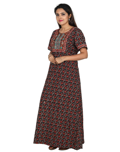 Womens Long Jaipuri Cotton Nightie - No zip - Slim Fit Womens Nighty NK - Kiwi