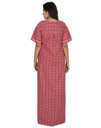 Womens Long Jaipuri Cotton Nightie - Front Button - Regular Fit Womens Nighty NH -Sale 1149