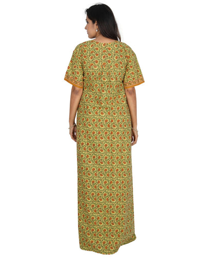 Womens Long Jaipuri Cotton Nightie - Front zip - Regular Fit Womens Nighty NH -Sale 1149