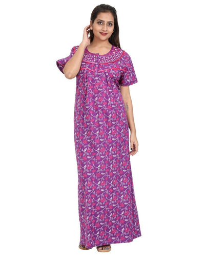 Womens Full Length Cotton Nightwear - Front zip - Slim Fit - Nighty House