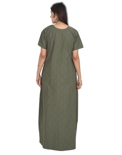Womens Full Length Premium Cotton Nightgown - Front zip - Slim Fit - Nighty House