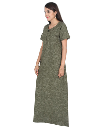 Womens Full Length Premium Cotton Nightgown - Front zip - Slim Fit Womens Nighty NH - Nighty House
