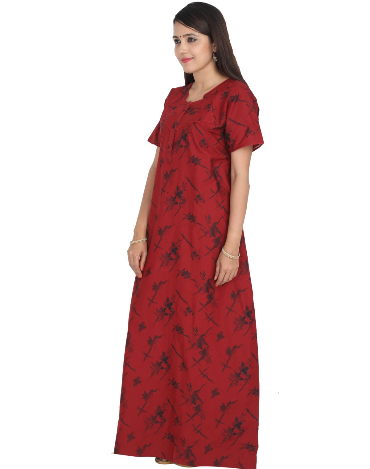 76f5346818 Womens Full Length Premium Cotton Nightgown - Front zip - Slim Fit