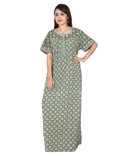 Womens Full Length Premium Cotton Nightwear - Front zip - Regular Fit Womens Nighty NH -Sale 1149