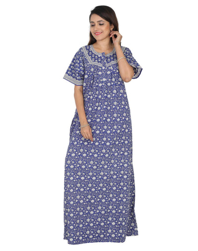 Womens Full Length Premium Cotton Nightwear - Front zip - Regular Fit - Nighty House