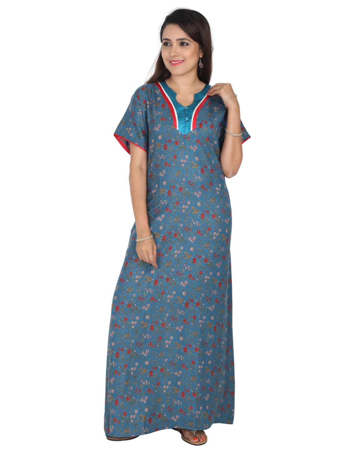 Womens Full Length Premium Alpine Nightwear - No zip - Slim Fit Womens Nighty NK - Kiwi