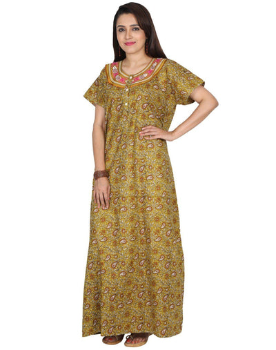 Womens Full Length Slim Fit Premium Cotton Nightie - Front Button - Nighty House