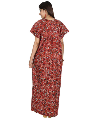 Womens Full Length Premium Cotton Nightie - Front Button - Nighty House