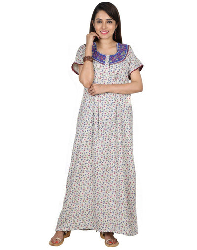Womens Full Length Alpine Fabric Nighties - Front Button