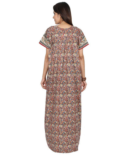 Womens Full Length Cotton Nightie - Front Button - Nighty House