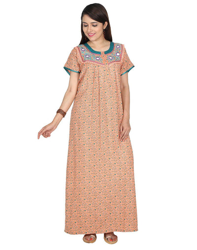 Womens Full Length Alpine Nighties - Front Button