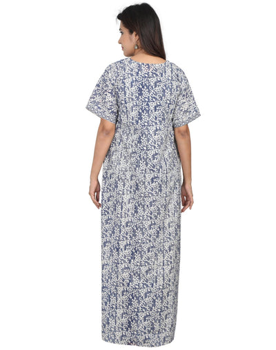 Womens Full Length Premium Cotton Nightwear - Front zip - Slim Fit - Nighty House