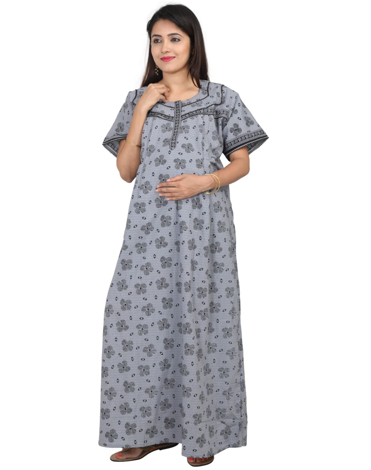 2af5c036f4248 Womens 100% Cotton Feeding Nightgown - Vertical Side Zip Nursing Nightwear  NH - Nighty House