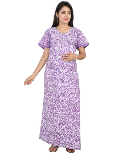 Womens 100% Cotton Feeding Nightgown - Horizontal Side Zip Nursing Nightwear NH - Nighty House