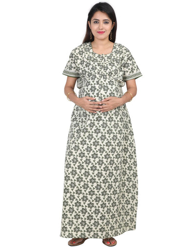 Womens 100% Cotton Feeding Nightgown - Extra Long Zip - Nighty House