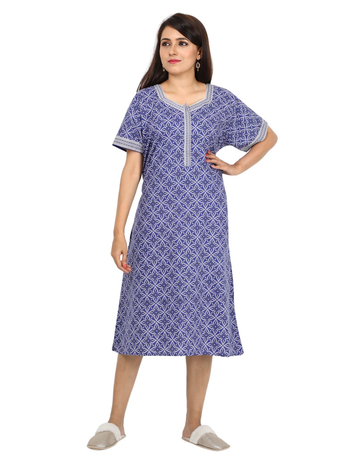 Womens Cotton Nightdress - Below Knee Length - Front Zip - Slim Fit Womens Nightgown NH - Nighty House