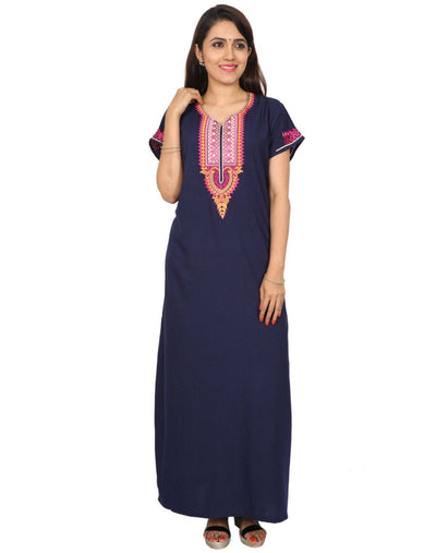 Womens Full Length Polyester Viscose Nighty - No zip