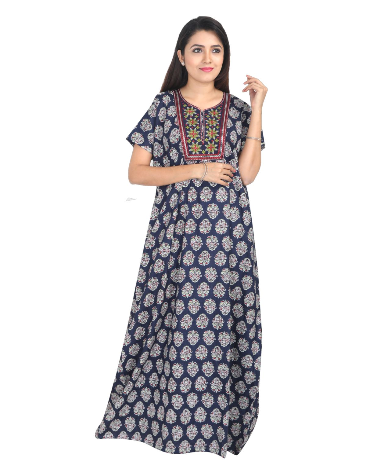 Womens Long Jaipuri Cotton Nightwear - No Zip - Slim Fit - Nighty House