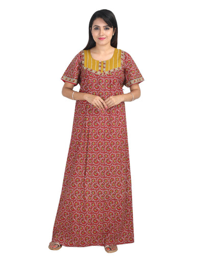 Womens Long Jaipuri Cotton Nightwear - No Zip - Regular Fit - Nighty House