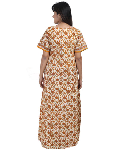 Womens Full Length Jaipuri Cotton Nightgown - Front Zip - Slim Fit - Nighty House