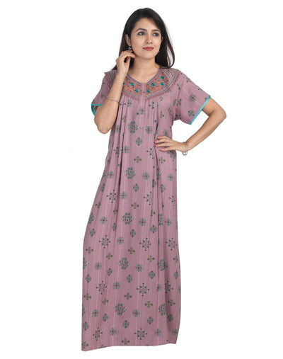 Womens Long Nightwear - Front Button - Regular Fit - Alpine Fabric - Nighty House