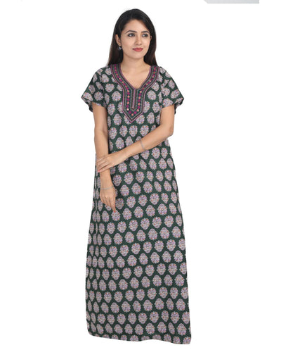 Womens Long Jaipuri Cotton Nightwear - No Zip - Slim Fit Womens Nighty NK - Kiwi