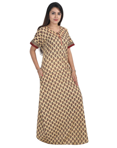 Womens Extra Length (60 inches) Jaipuri Cotton Nightgown - Front Zip - Slim Fit - Nighty House