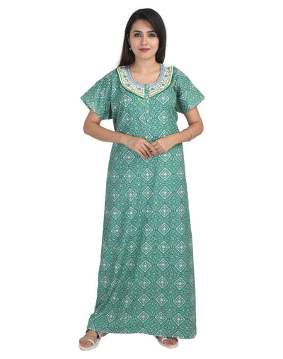 Womens Long Jaipuri Cotton Nightwear - Front Button - Slim Fit - Nighty House