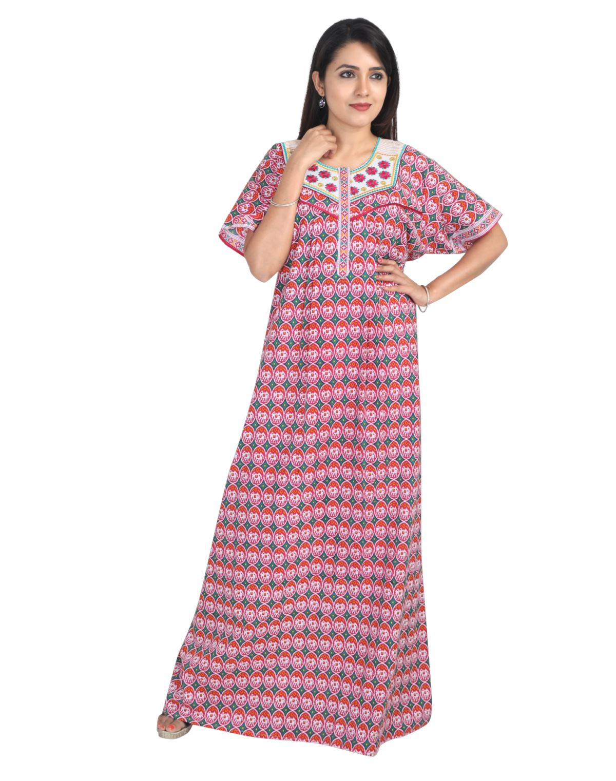 Womens Long Jaipuri Cotton Nightwear - Front Zip - Regular Fit - Nighty House